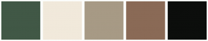 Color Scheme with #415846 #F1E9DB #A79A85 #8A6A56 #0C0E0C