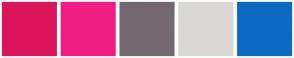 Color Scheme with #DA155C #F01D82 #746870 #D9D7D6 #0D69C1