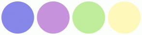 Color Scheme with #8687E8 #C693DC #BFED9B #FFF8BB