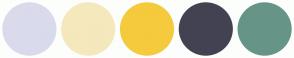 Color Scheme with #DADAED #F5E8BC #F5CA3D #434252 #669587