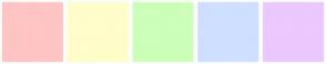 Color Scheme with #FFC4C4 #FFFDCA #CCFFB9 #CFDFFF #EBC8FF