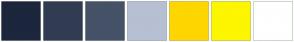Color Scheme with #1C263C #313C53 #455268 #B6C0D2 #FFD600 #FDF600 #FFFFFF