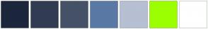 Color Scheme with #1C263C #313C53 #455268 #5A79A5 #B6C0D2 #9CFF00 #FFFFFF