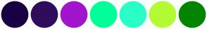 Color Scheme with #190043 #300C5C #A115CC #00FF99 #2AFFC7 #B2FB35 #028500