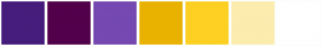 Color Scheme with #461D7C #53004B #7549B1 #E9B200 #FDD023 #FCECAE #FFFFFF
