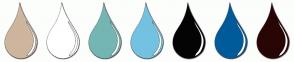 Color Scheme with #CEB59D #FFFFFF #74B6B3 #74C2E1 #040404 #005B9A #290606