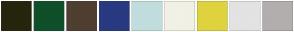 Color Scheme with #27250D #0F4F2A #4F3F30 #283A81 #C1DDDD #F2F1E5 #DFD33F #E3E3E3 #B2AEAE