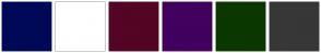 Color Scheme with #000957 #FFFFFF #540424 #42005F #0B3700 #373737