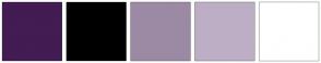Color Scheme with #421C52 #000000 #9C8AA5 #BDAEC6 #FFFFFF