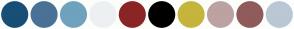Color Scheme with #174F76 #4A7196 #6FA2BD #EDF0F2 #8B2525 #000000 #C5B53D #BDA2A2 #905B5B #B9C8D4