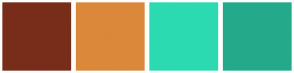Color Scheme with #782D1A #DB883A #2CDAB1 #24AA8B