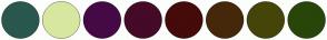 Color Scheme with #2A574E #D7E7A0 #450A45 #450A28 #450A0A #45280A #45450A #28450A