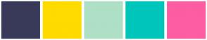Color Scheme with #393A59 #FFDB00 #AEE0C5 #00C5BB #FD5DA3