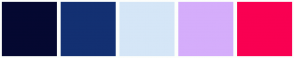 Color Scheme with #050831 #133072 #D5E6F7 #D5ADFB #F90052