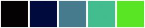 Color Scheme with #040203 #010A3D #467B8D #43BD8E #5AE524