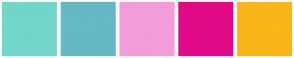 Color Scheme with #72D6C9 #66B8C4 #F29CD9 #E00986 #FBB619