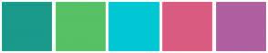 Color Scheme with #1A9A8B #57C165 #01C7D4 #D95B80 #B05FA1