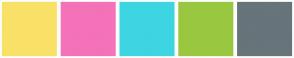 Color Scheme with #F9E167 #F472B8 #3DD5E2 #9AC740 #67747A