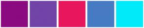 Color Scheme with #8B0A80 #7144A8 #E8175D #467BC4 #00EBFA