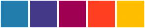Color Scheme with #227DAC #443988 #9F0052 #FF3F20 #FFBE00