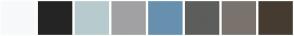 Color Scheme with #F8F9FA #242424 #B7CBCE #A1A1A3 #6790AF #5D5D5C #7A736D #463B30