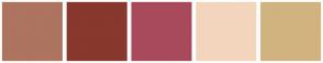 Color Scheme with #AD7460 #88382D #A84A5C #F3D5BD #D1B37F
