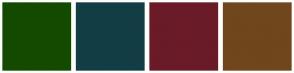 Color Scheme with #144A00 #133D45 #6A1B27 #70461D