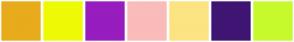 Color Scheme with #E8AB1C #EEFA05 #971DBF #FABBBB #FCE483 #3F1573 #C7FA2D