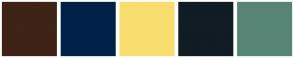 Color Scheme with #3E2316 #002147 #F8DE6E #111C24 #578575