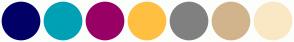 Color Scheme with #000066 #00A0B5 #990066 #FFC042 #808080 #D2B48C #FAE8C5