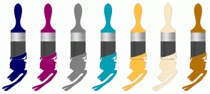 Color Scheme with #000066 #990066 #808080 #00A0B5 #FFC042 #FAE8C5 #B67000