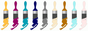 Color Scheme with #FFC042 #990066 #00A0B5 #000066 #808080 #FAE8C5 #B67000 #A5F2F3 #FFE9E8