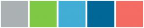 Color Scheme with #AAB1B3 #7EC845 #42ADD5 #006797 #F46C63