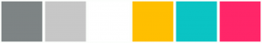 Color Scheme with #7E8485 #C7C7C7 #FFFFFF #FFBF00 #0AC4C4 #FF2669