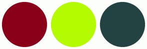 Color Scheme with #890018 #B5FB00 #234242