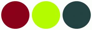 Color Scheme with #890018 #B5FB00 #234242