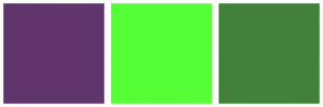 Color Scheme with #60356D #54FF36 #418139