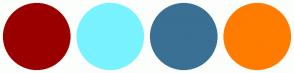 Color Scheme with #9A0000 #78F3FF #3A7094 #FF7C00