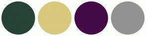 Color Scheme with #254337 #D8C97C #460947 #929292