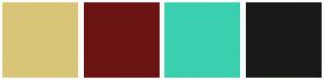 Color Scheme with #D9C578 #6B1414 #3AD0AF #1A1919