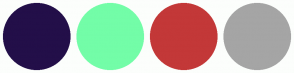Color Scheme with #230F49 #73FDA8 #C33838 #A5A5A5