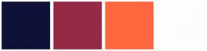 Color Scheme with #0F1138 #942A46 #FF683E #FDFDFD