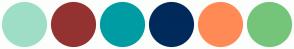 Color Scheme with #9EDEC7 #943232 #009CA3 #002A5A #FF8A56 #74C57A