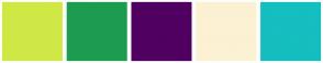 Color Scheme with #D0E846 #1D9C51 #500060 #FCF1D3 #15BEC0
