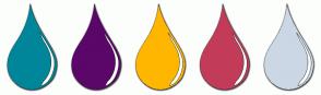Color Scheme with #00869A #5B0669 #FFB600 #C23C59 #CBD7E4