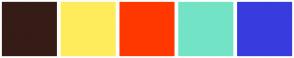 Color Scheme with #361C16 #FFEC5C #FF3800 #73E3C5 #383CDF