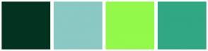 Color Scheme with #033320 #8BC9C4 #93F94B #32A783