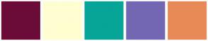 Color Scheme with #6B0C38 #FFFED0 #07A597 #7367B4 #E88A57