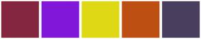 Color Scheme with #852640 #8118D9 #DFD915 #BD4F12 #4A3E5E