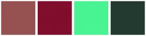 Color Scheme with #955251 #800E2C #49F492 #233A31